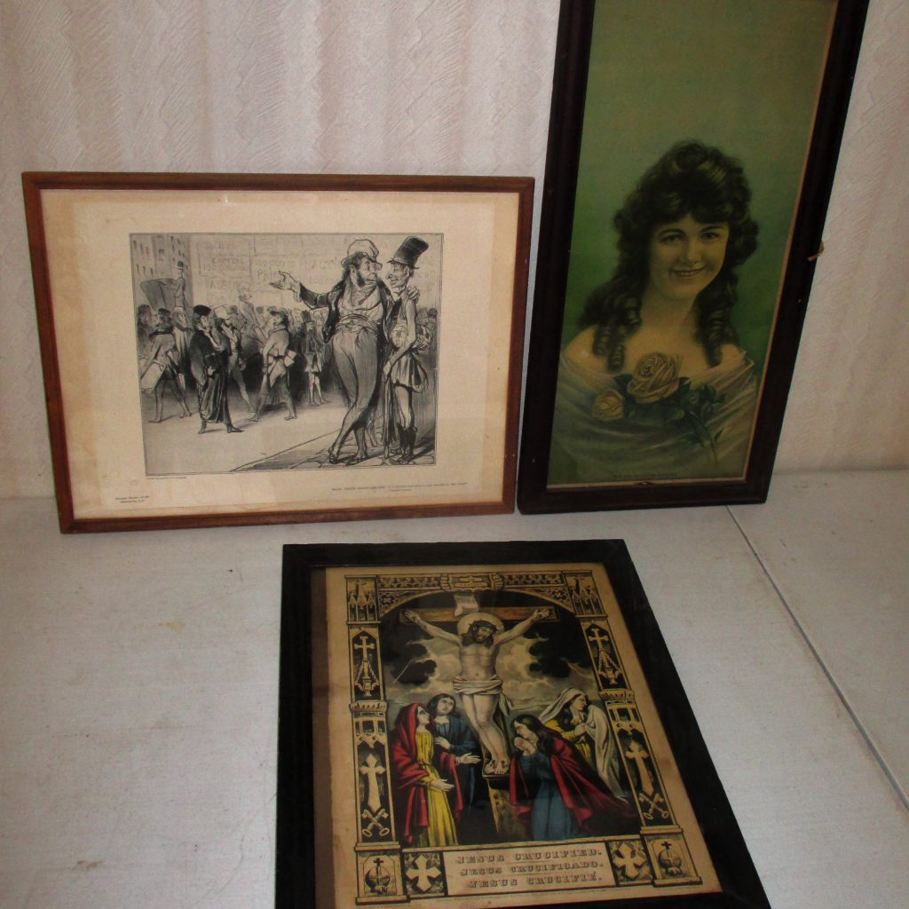 100: (3) Framed Prints, Portrait, Religious, Cartoon