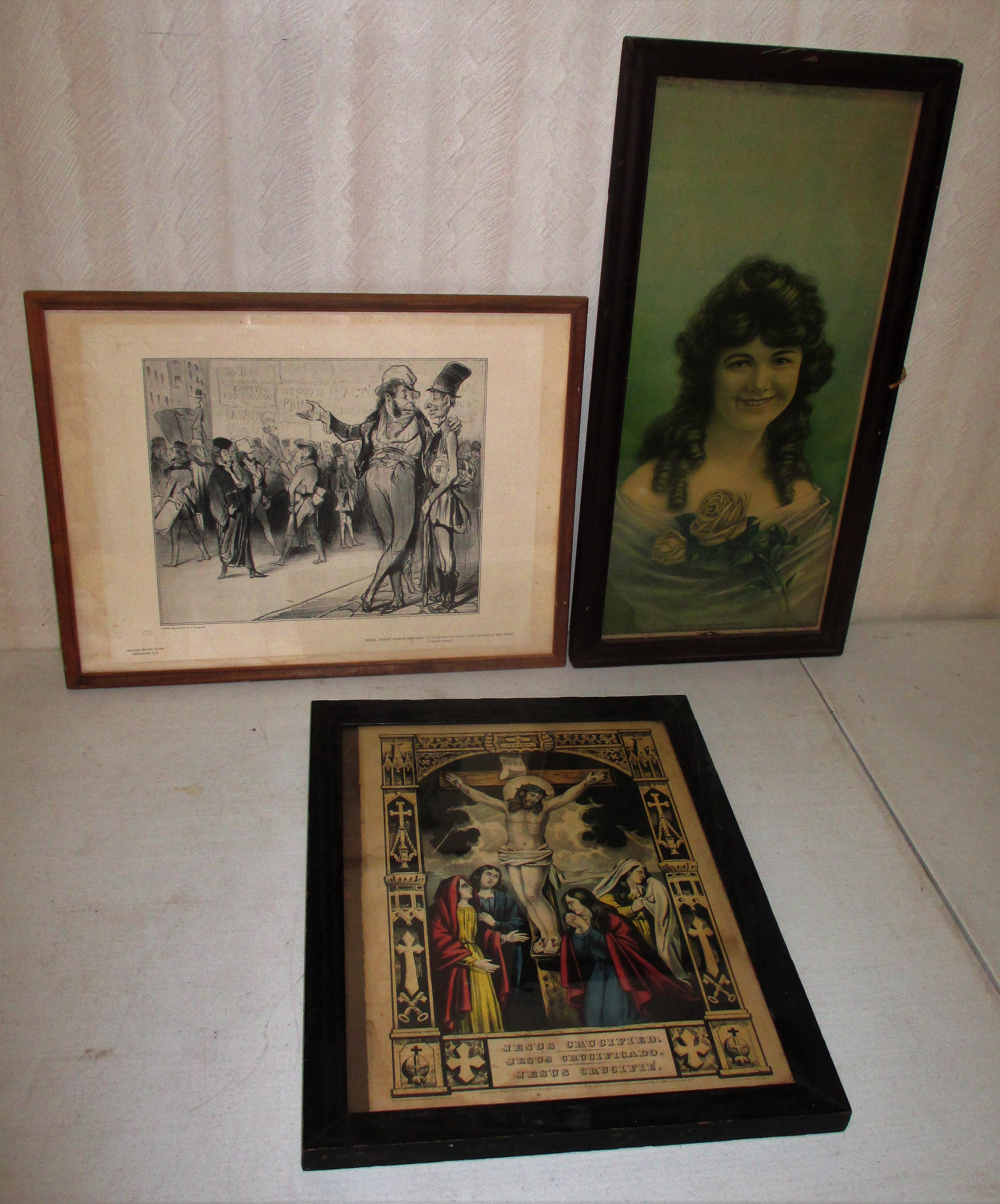 100: (3) Framed Prints, Portrait, Religious, Cartoon