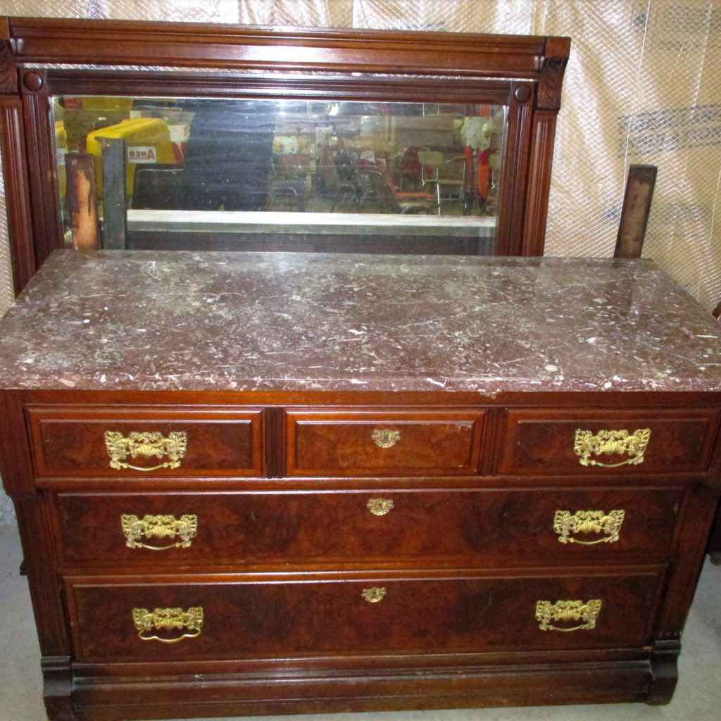 139: Marble-top Dresser W/mirror