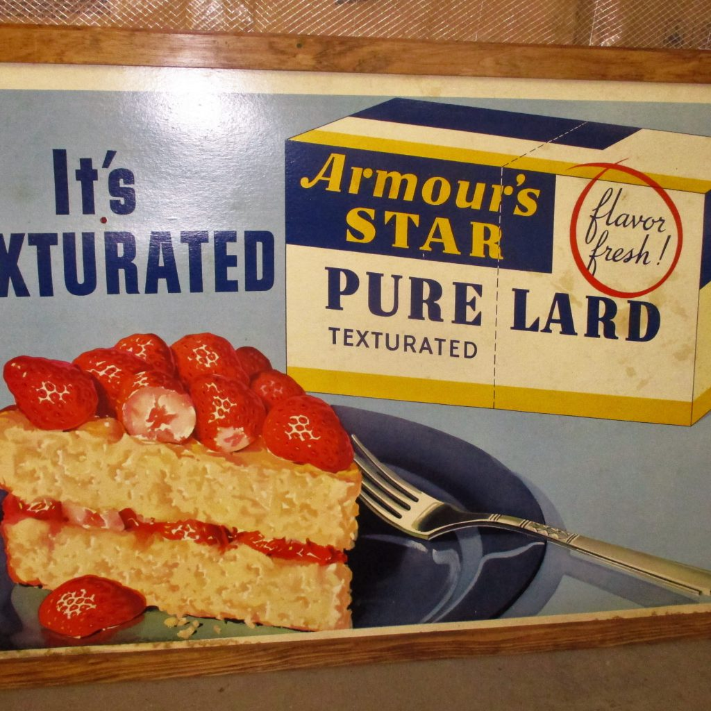 142: Armours Star Pure Lard Cardboard Sign