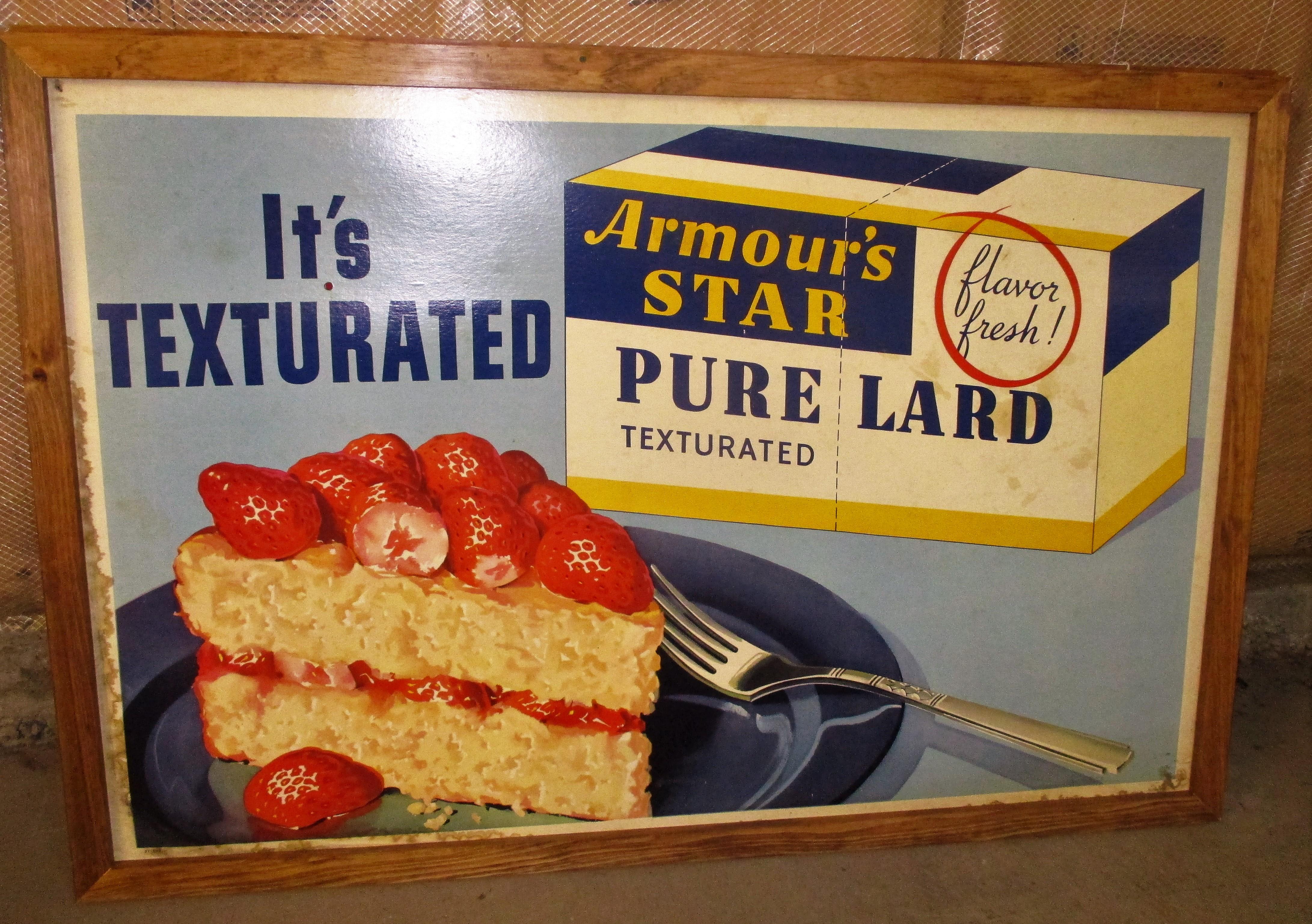 142: Armours Star Pure Lard Cardboard Sign