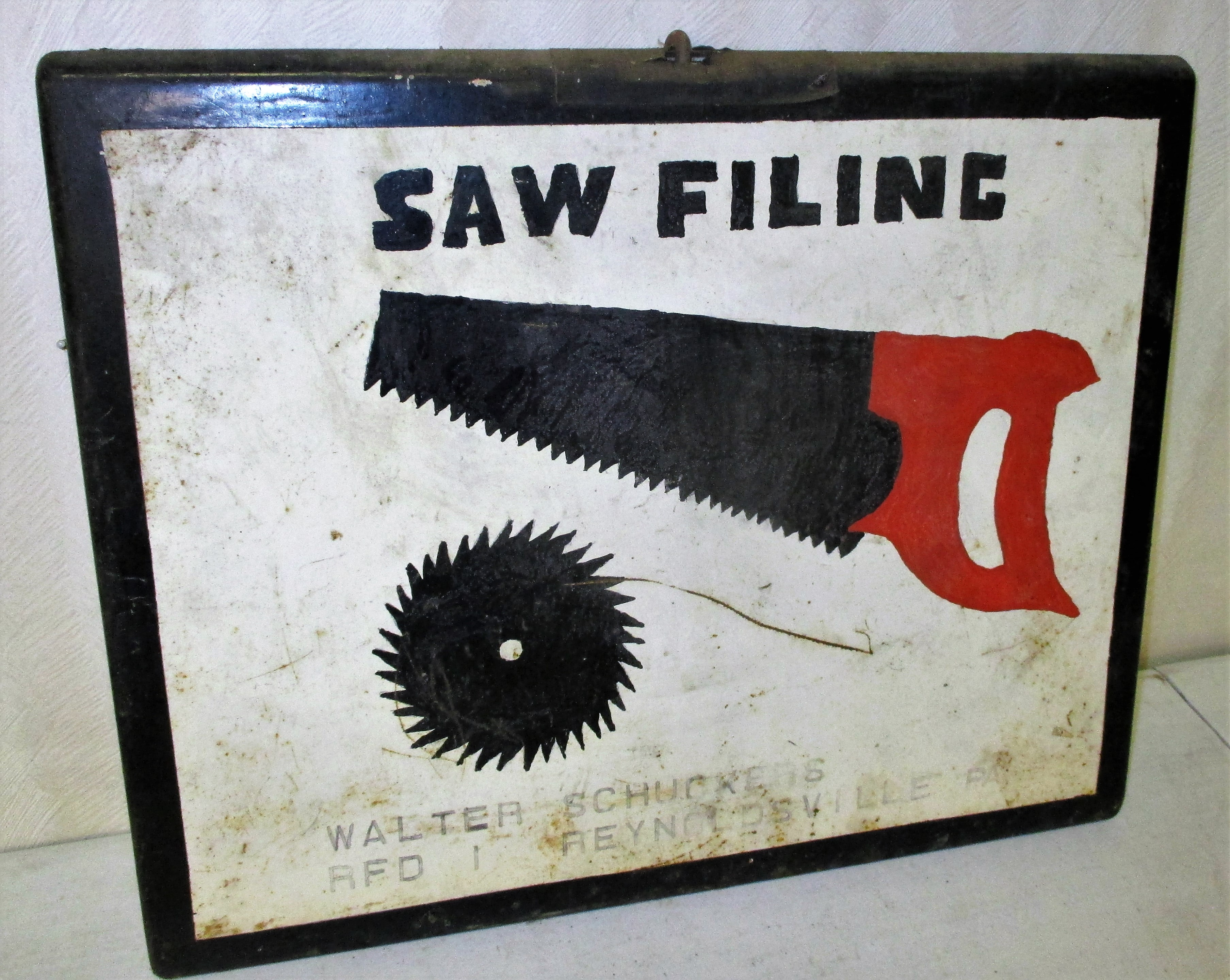 151: Hand Painted Saw Filing Sign From Reyoldsville