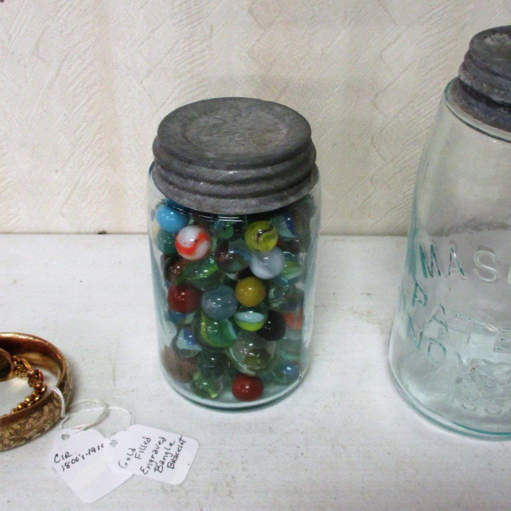 41: #13 Mason Jar, Marbles And 2 Gold Filled Bracelets