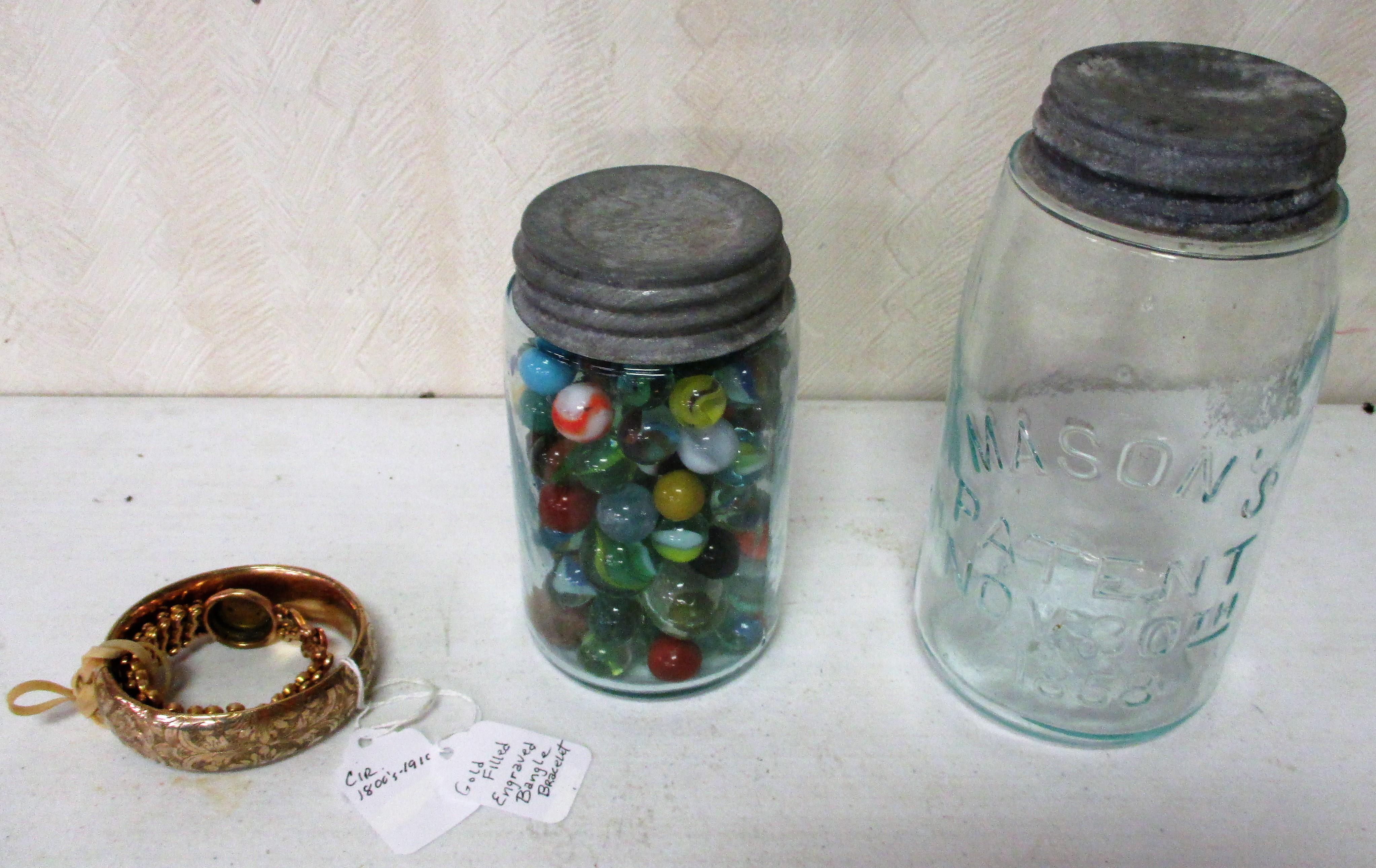 41: #13 Mason Jar, Marbles And 2 Gold Filled Bracelets
