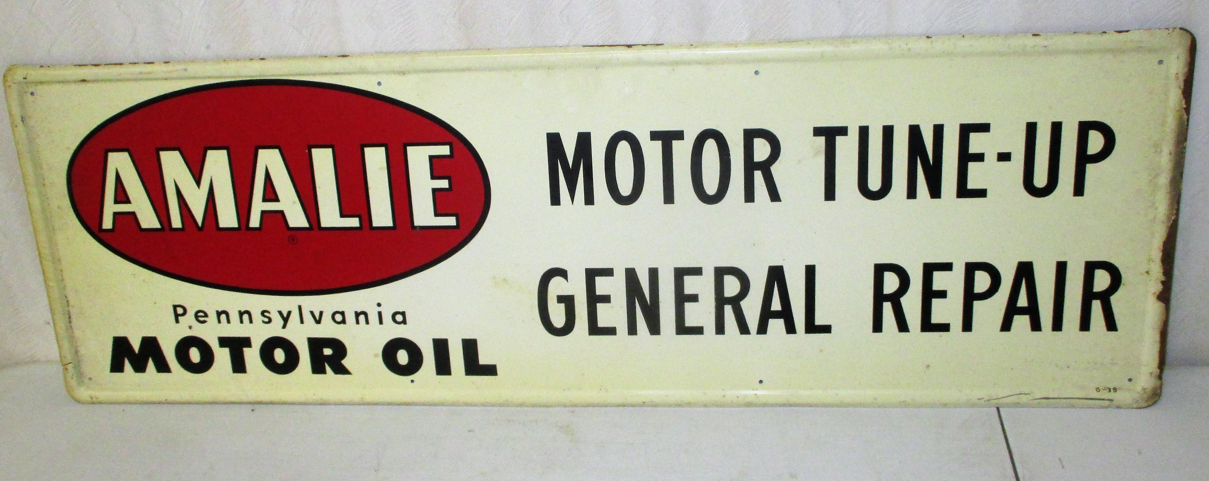 68: Amalie Tin Motor Oil Sign