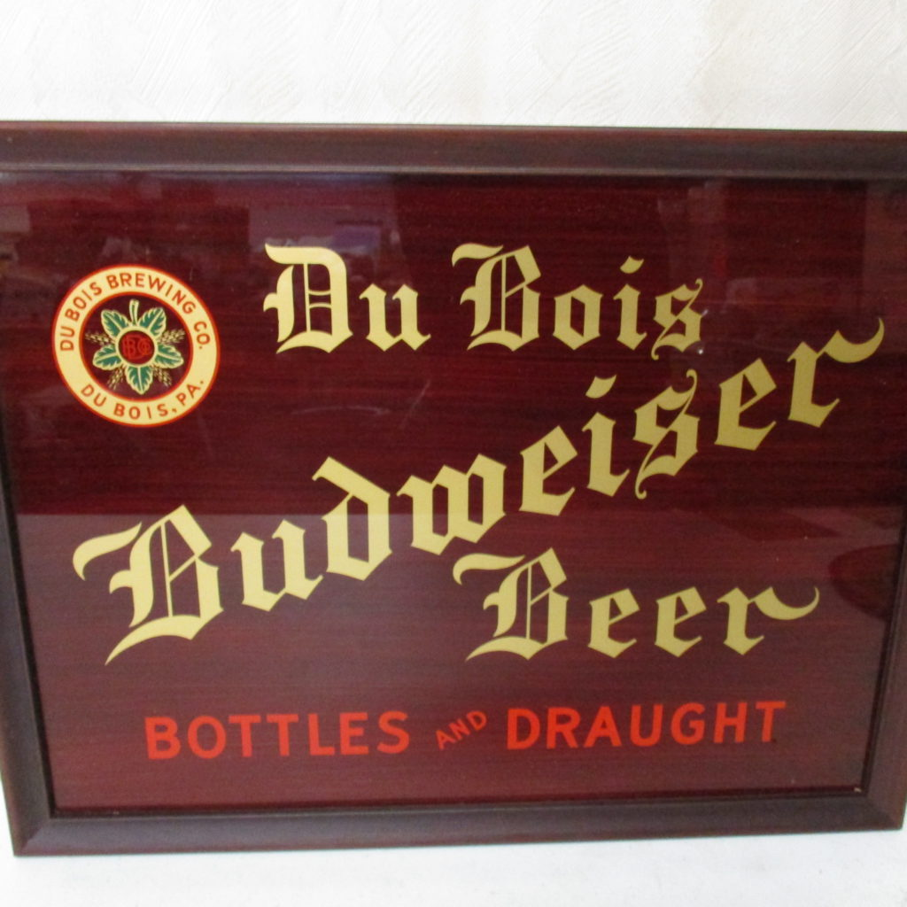 Lot 107: DuBois Budweiser Reverse Painted Glass Sign