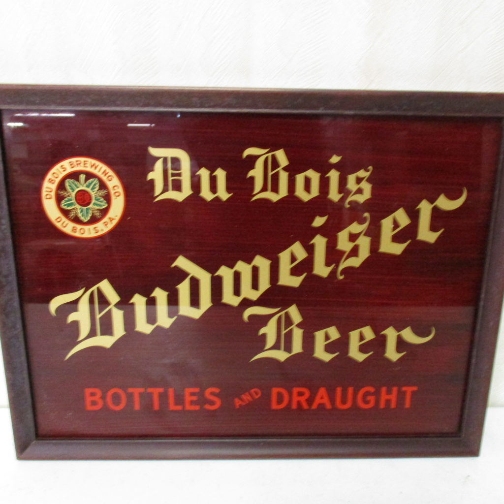 Lot 115: DuBois Budweiser Beer Reverse Painted Glass Sign