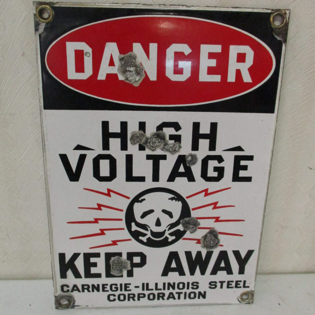 Lot 125: DANGER High Voltage Sign - Porcelain