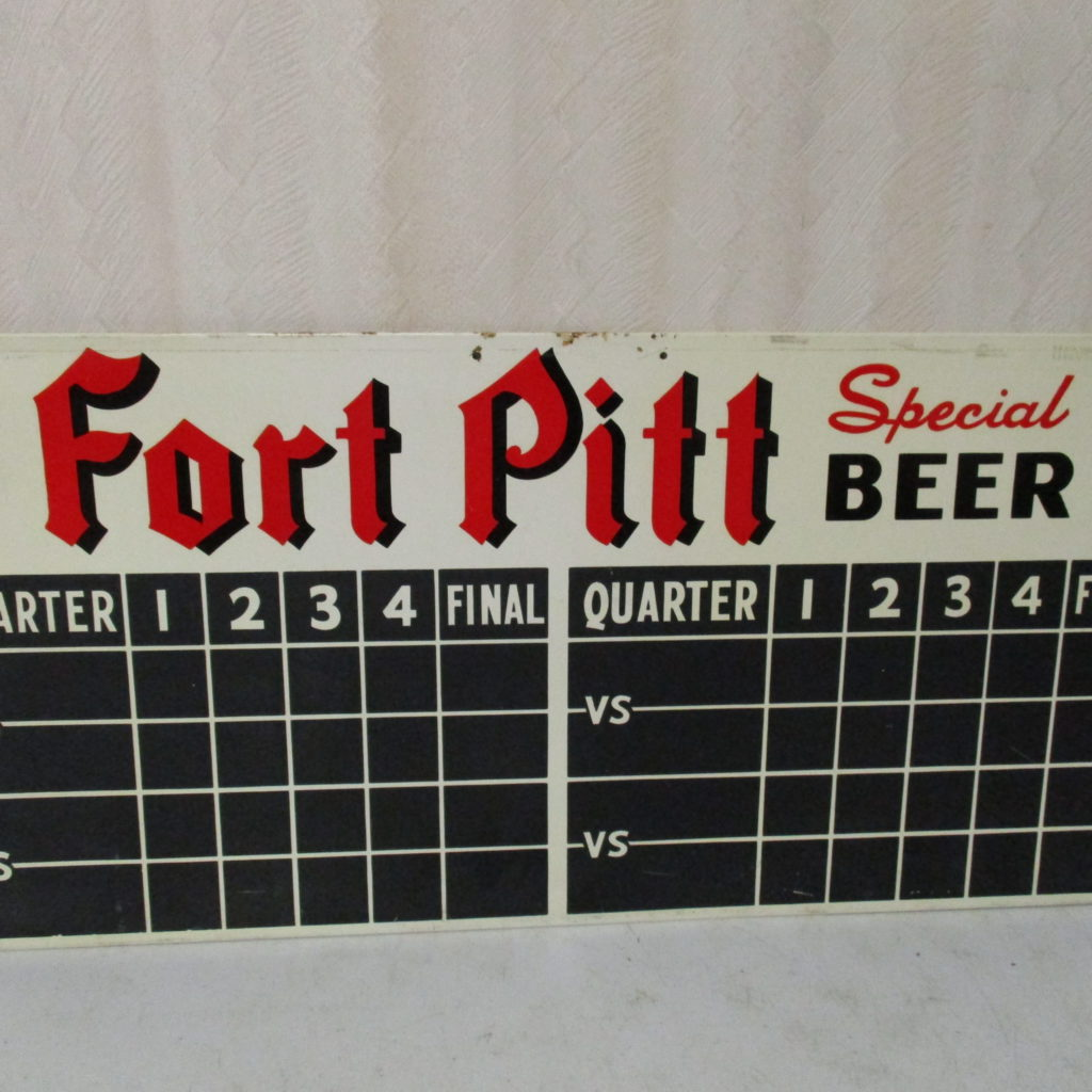 "Lot 145: Fort Pitt Beer Tin Scoreboard Sign - 11"" X 24"""