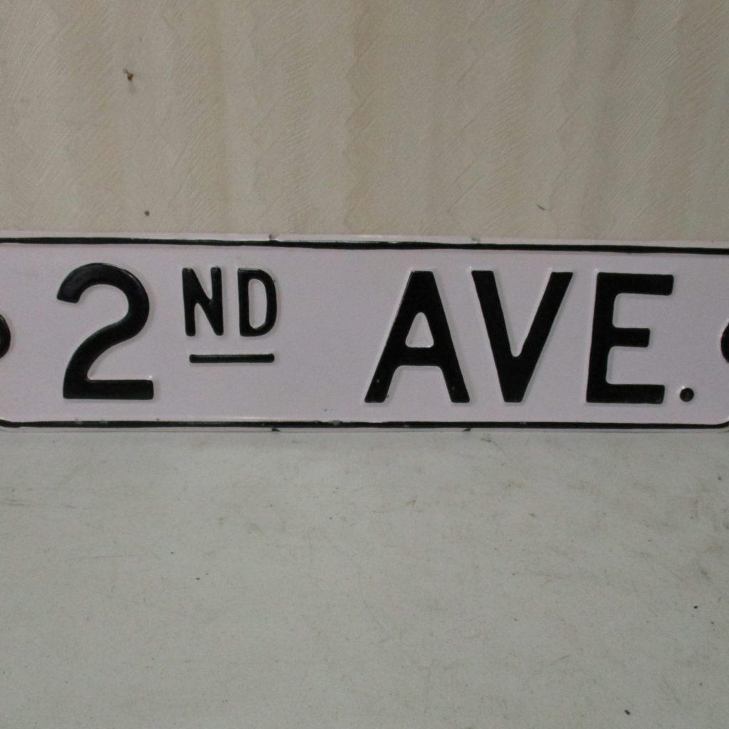 Lot 154: 2nd Avenue Street Sign