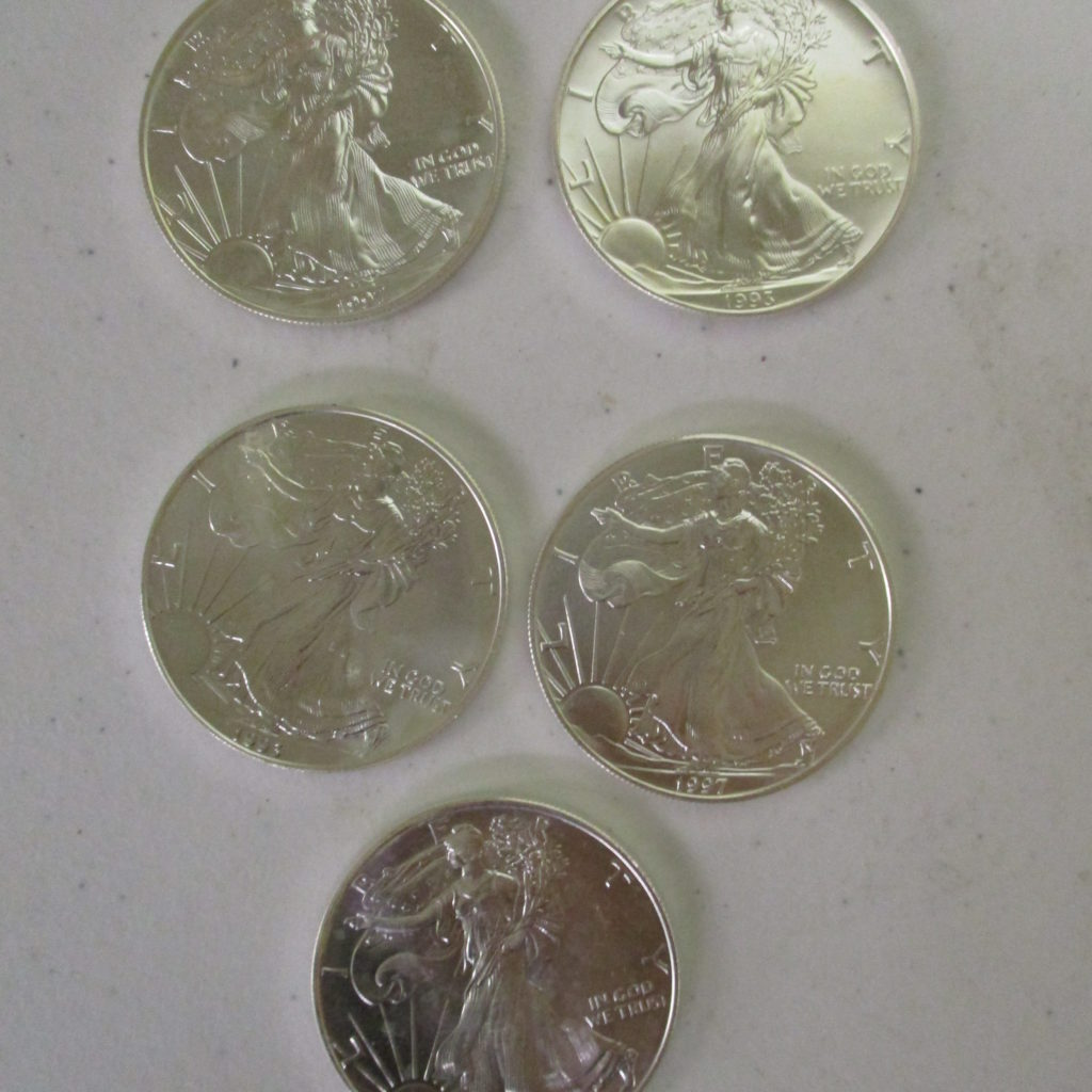 Lot 16: (5) 1993 Silver Eagles (by The Piece, Take 5)