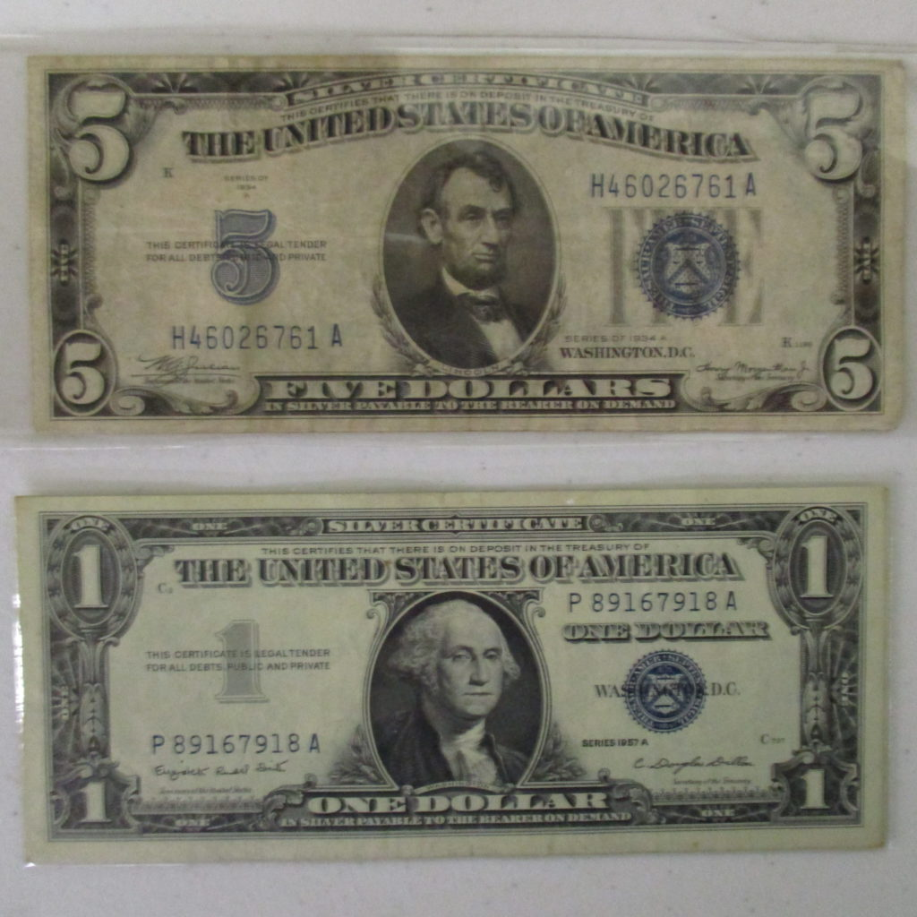 Lot 17: 1934 $5 Silver Certificate And $1 Silver Certificate