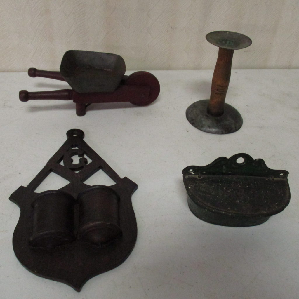 Lot 171: Small Wheel Barrow, Match Safe, Hog Scraper And More