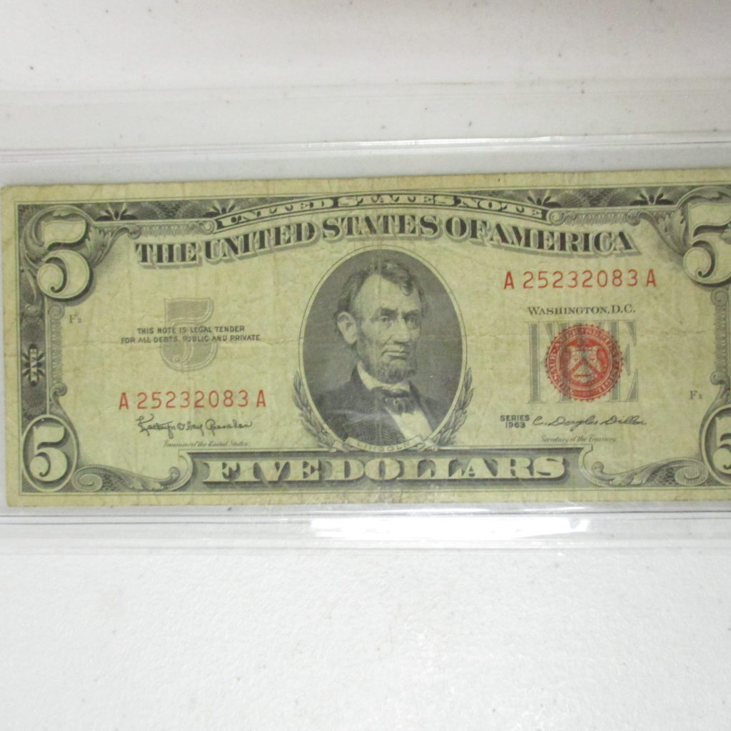 Lot 2: 1963 $5 Red Seal Note