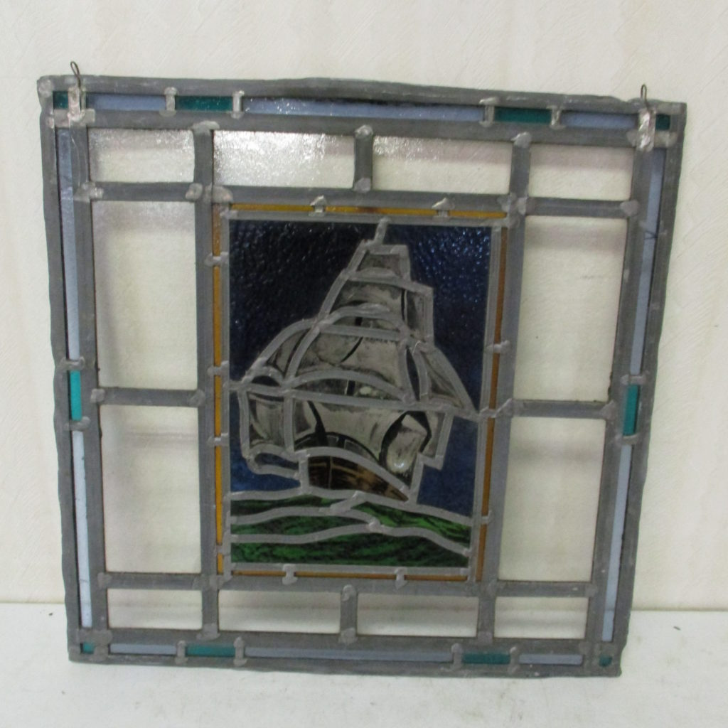 "Lot 226: Leaded Glass With Ship Scene - 20"" X 20"""
