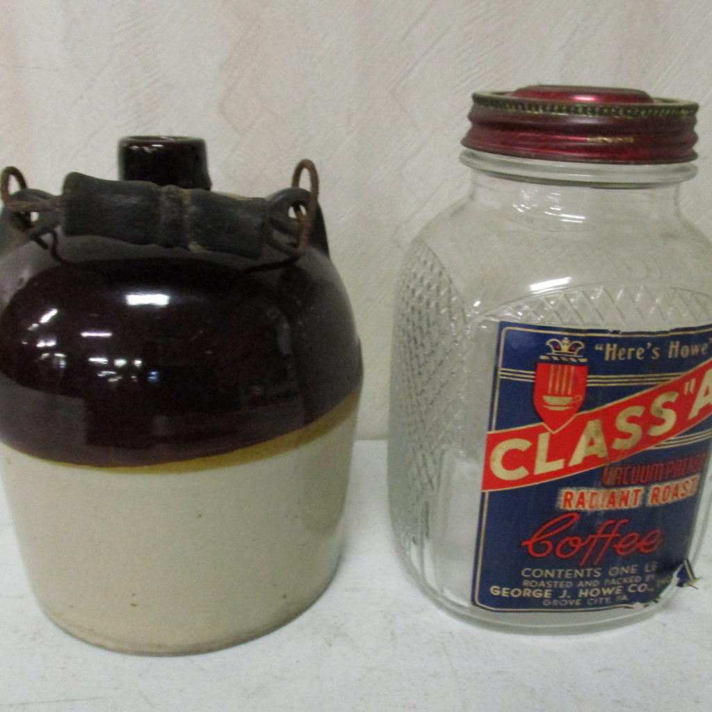 Lot 231: Class A Coffee Jar And Small Crock With Handle
