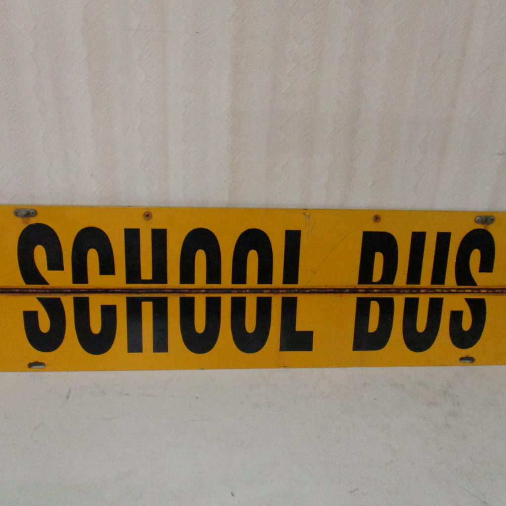Lot 232: School Bus Sign - Tin