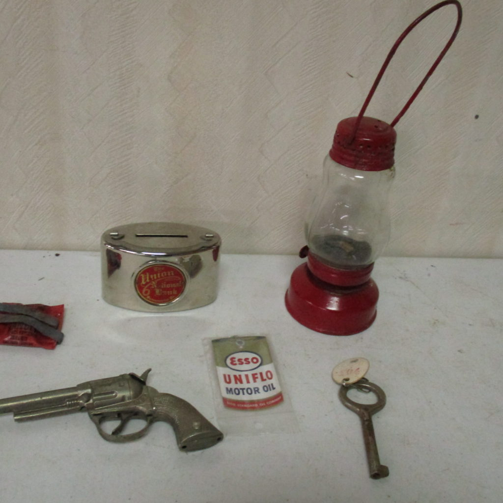 Lot 240: Small Lantern, Cap Gun, ESSO Tag, Bank And Ford Coupe Truck Key