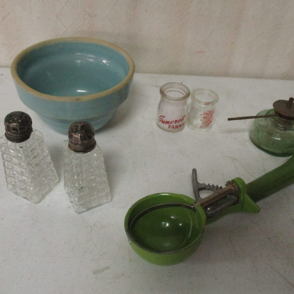 Lot 255: Crock Bowl, Sterling S&P And Ice Cream Scooper