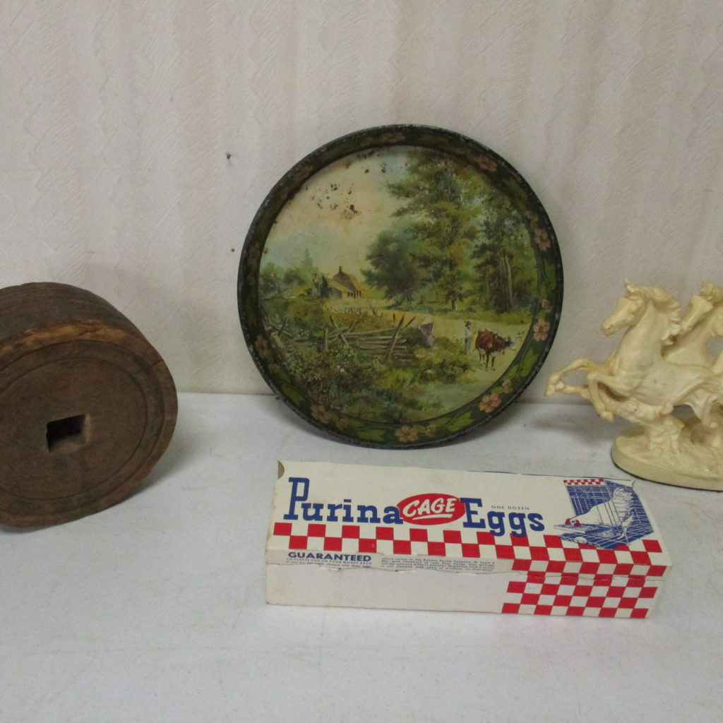 Lot 257: Farming Tray, Purina Egg Box, Wood Pulley, Horse Sculpture