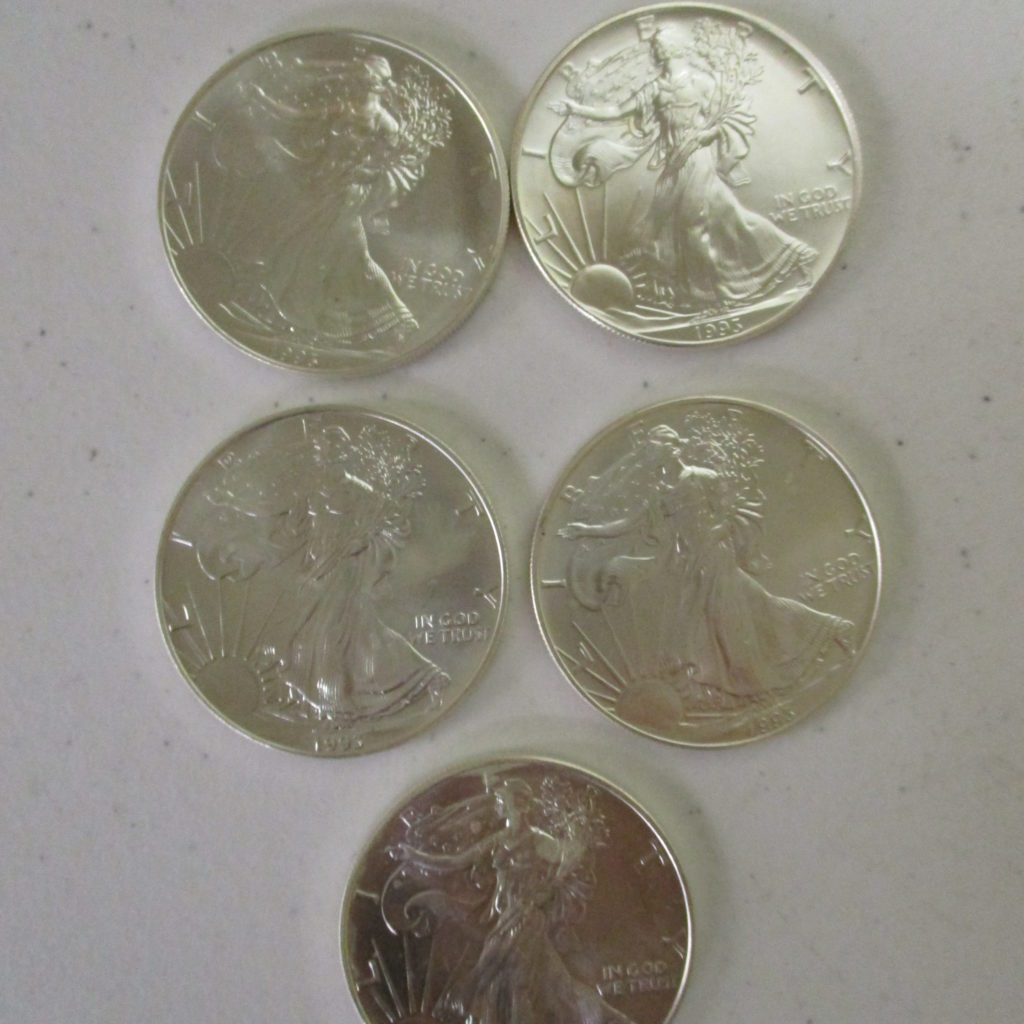 Lot 26: (5) 1993 Silver Eagles (by The Piece, Take 5)