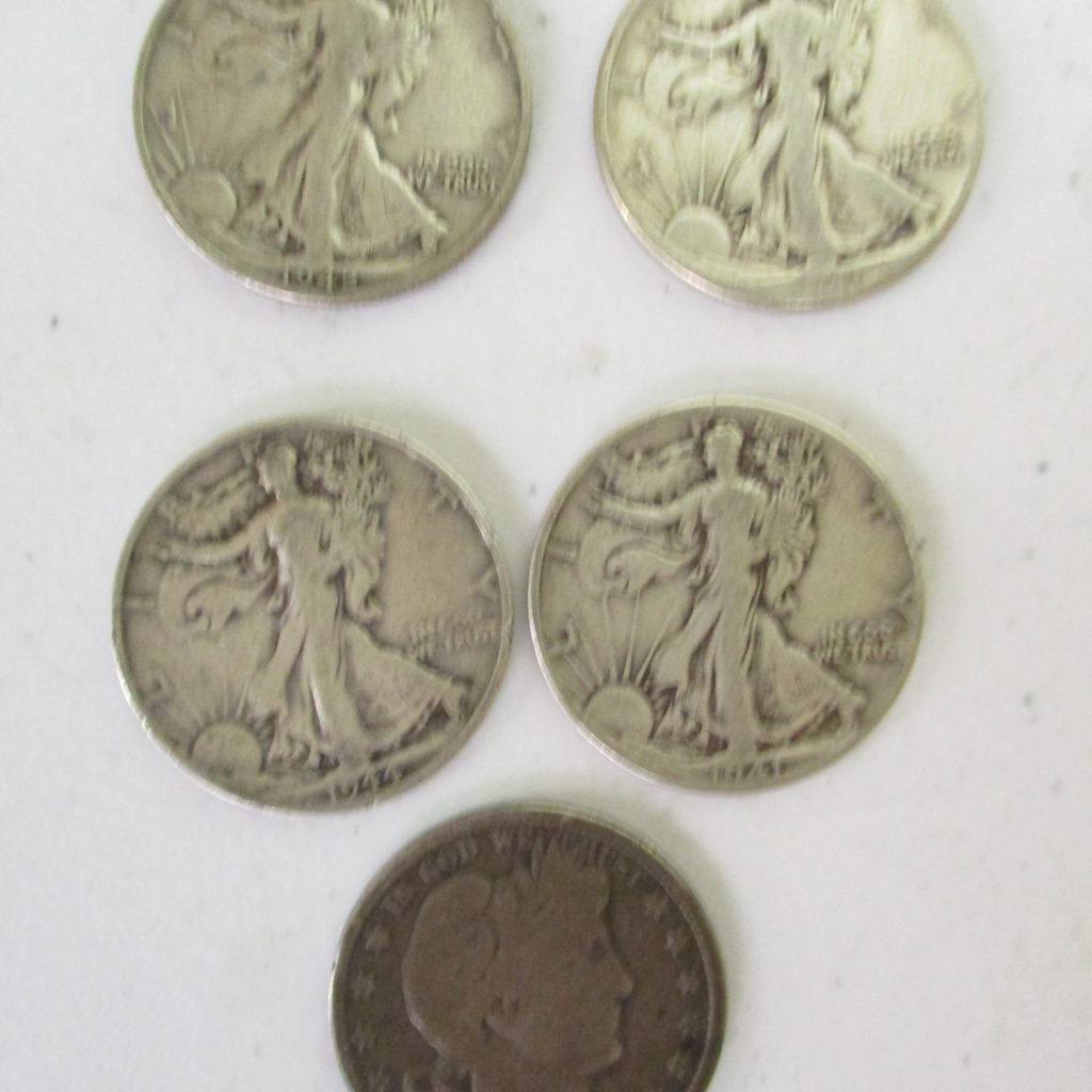 Lot 27: (4) Walking 1/2 Dollars And (1) Barbar 1/2 Dollar (by The Piece, Take 5)