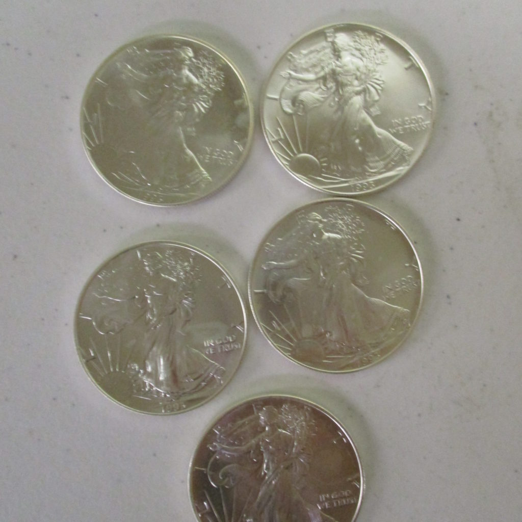 Lot 32: (5) Silver Eagles (by The Piece, Take 5)