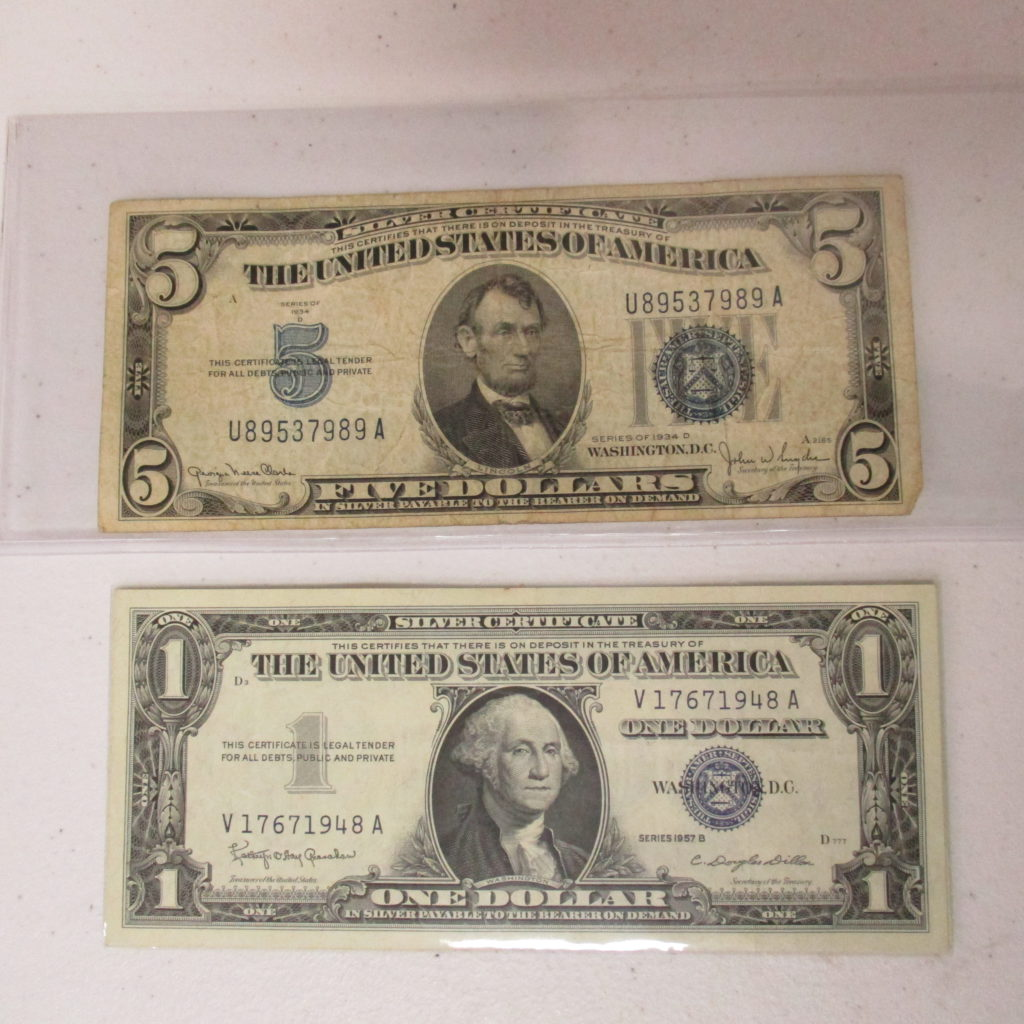 Lot 33: $5 And $1 Silver Certificates