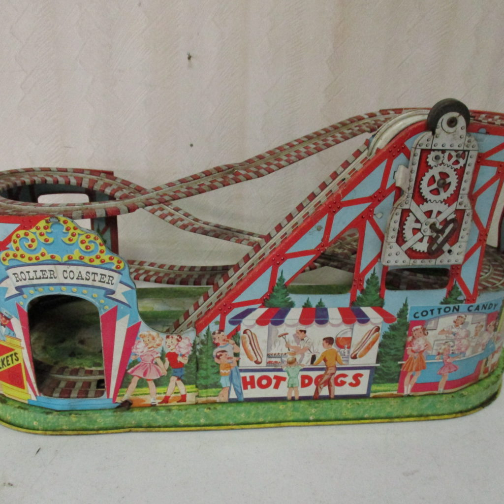 Lot 52: J Chein Windup Roller Coaster Lithograph Toy