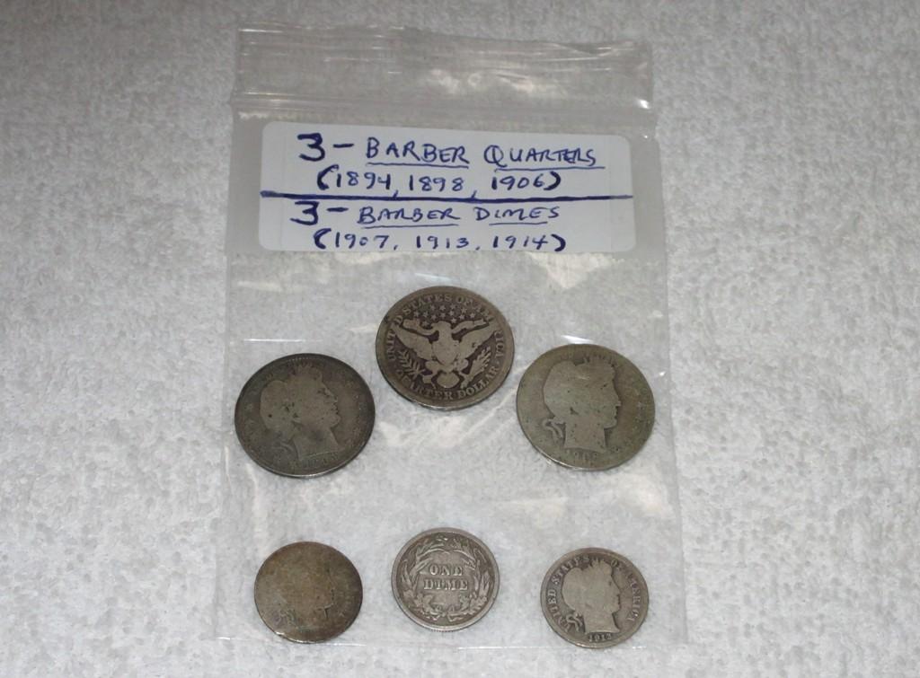4. 3 – Barber Quarters & 3 – Barber Dimes